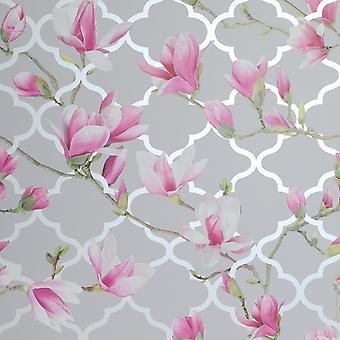 Magnolia Trellis Bakgrund Grå / Rosa Arthouse 908000