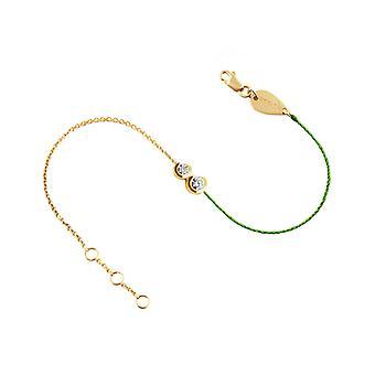 Armband Duo Halbfaden 18K Gold und Diamanten - Gelbgold, NeonGrün