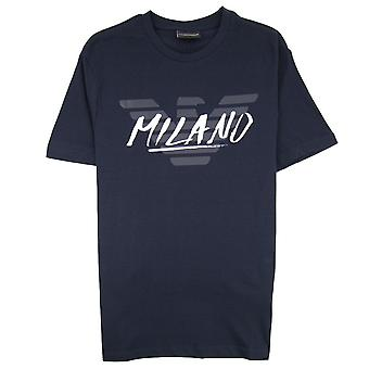 Emporio Armani Armani Jeans Eagle City Schreiben Milano T-shirt blau Marine 0922