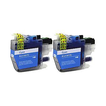 RudyTwos 2x Replacement for Brother LC3217C Ink Unit Cyan Compatible with MFC-J5330, DWMFC-J5335, DWMFC-J5730, DWMFC-J593, 0DWMFC-J6530, DWMFC-J6930, DWMFC-J6935DW