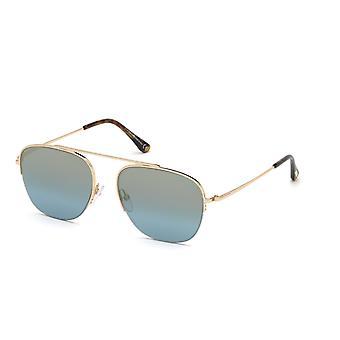 Tom Ford Abott TF667 28X Brillante Rosa Oro/Espejo Azul Gafas de Sol