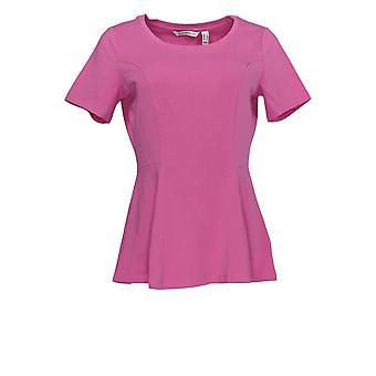Isaac Mizrahi Live! Women's Top Seamed Peplum Knit Tropical Pink A354253