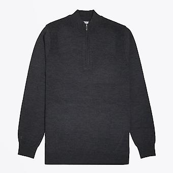 Thomas Maine  - Merino Funnel Neck Zip Sweater - Charcoal Grey