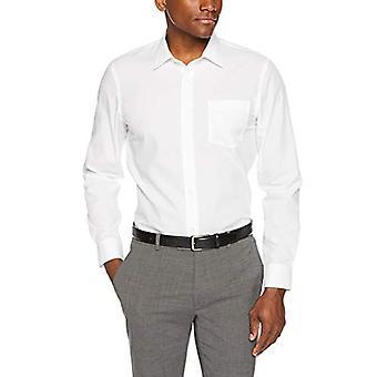 """أساسيات الرجال سليم تناسب التجاعيد مقاومة قميص طويل الأكمام اللباس، أبيض، 17 """"الرقبة 36""""-37"""""""