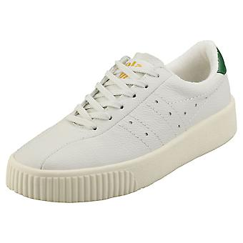 Gola Super Court Womens Plattform Utbildare i Off White Green