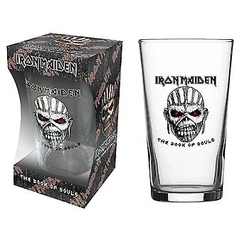 Iron Maiden Pint Glass Book Of Souls Eddie Band Logo new Official Boxed