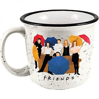 Friends Characters With Umbrellas 14oz Ceramic Camper Mug