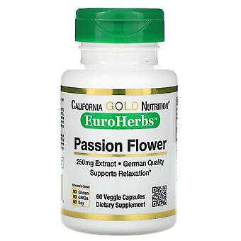 California Gold Nutrition, Passion Flower, EuroHerbs, 250 mg, 60 Veggie Capsules
