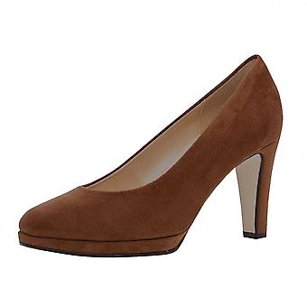 Gabor Splendid Classic Mid Heel Court Shoes In Whisky Suede (3-9)