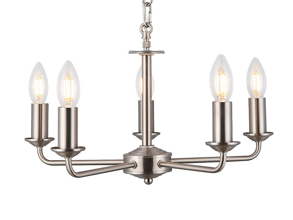 Inspired Deco - Banyan - 5 Light Multi Arm Ceiling Pendant without Shade, c, w 2m Chain, E14 Satin Nickel
