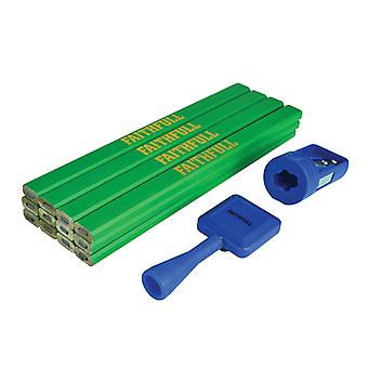 Faithfull Carpenter's Pencil Kit Green / Hard (Pack 12)