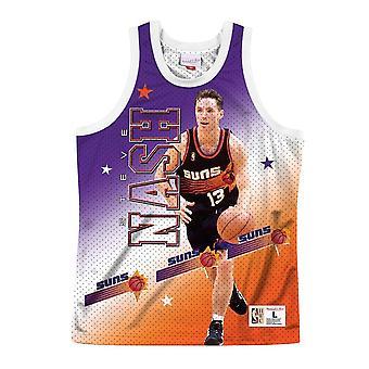 Mitchell & Ness Nba Behind The Back Tank Phoenix Suns Steve Nash MSTKMI19002PSUWHITSNA koripallo koko vuoden miesten t-paita