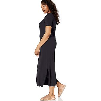 Brand - Daily Ritual Women's Jersey Crewneck Short Sleeve Maxi Dress with Side Slit, Navy, Small