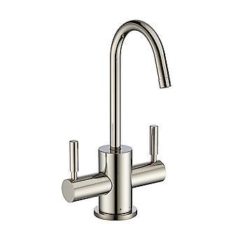 Punto de uso instantáneo agua caliente / fría beber grifo con cuello de ganso spout giratorio - níquel pulido