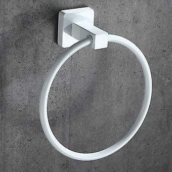 Vit handduk ring rund stil Form Väggmonterad handduk innehavaren hängare för badrumstillbehör