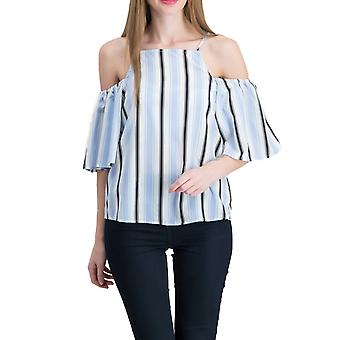 Almost Famous | Crave Fame Striped Cold Shoulder Top