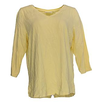 Belle by Kim Gravel Women's Top 3/4 Sleeve V-Neck Yellow A374459