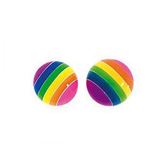Begyndelser sterling sølv A704 regnbue stor stribe bold stud øreringe