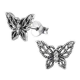 Бабочка - 925 стерлингового серебра кубического циркония уха шпильки - W30793x