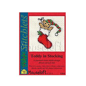 Stocking - Stitchlets Small Christmas Counted Cross Stitch Card Making Kit