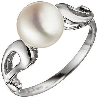 女子戒指 925 斯特林银 1 淡水珍珠戒指银环