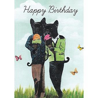 French Bulldog Eating Icecream Printed Birthday Greeting Card
