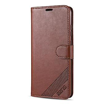 For Xiaomi Redmi 9C AZNS Sheepskin Texture Horizontal Flip Leather Case with Holder & Card Slots & Wallet(Brown)