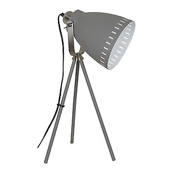 Lámpara de pie industrial y retro satinado gris 1 luz con sombra gris, E27