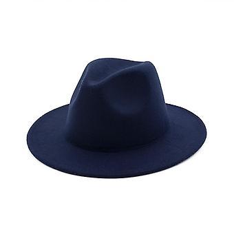 Yoyocorn Winter Fashion Wool Fedora Hat Chapeau Black Hats Simple Wide Brim