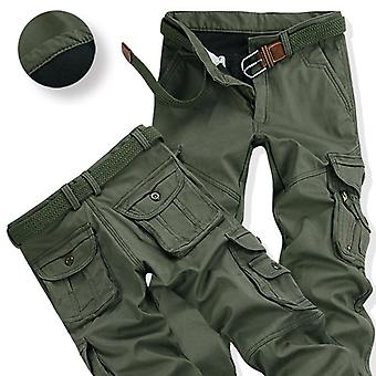 Mens Winter Pants, Thick Warm Cargo Pant, Casual Fleece Pockets Fur Trouser,
