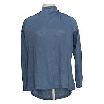Belle by Kim Gravel Women's Sweater Knit Slub Jersey w/Zipper Blue A355036