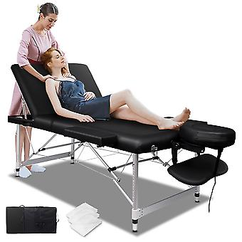 ELFORDSON Portable Massage Bed Table 3 Fold 65cm Wide Adjustable Aluminium Couch Beauty SPA Treatment Waxing Bed(Black)
