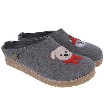 Grey Haflinger Papai Slipper With Dog and Cat