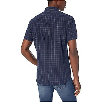Goodthreads Men's Standard-Fit Short-sleeve Plaid Poplin Camicia, -navy windowp...