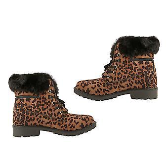Leopard Print Kvinner Lace Opp Ankelstøvletter for Kvinner Størrelse 4 - Sennep