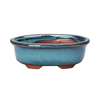 Oval Chinese Bonsai Pot Blue Glazed  For Indoor/balcony Planting
