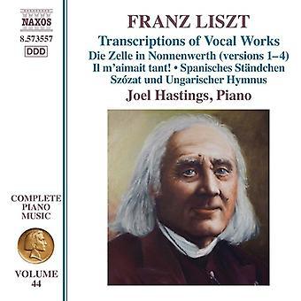 Liszt / Hastings - Franz Liszt: transkriptioner av vokalverk [CD] USA import