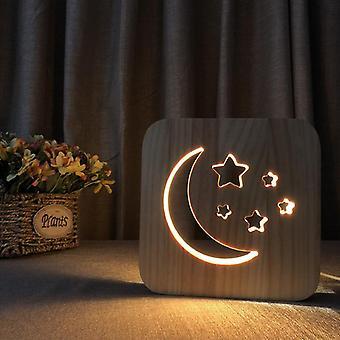 قاد خشبية نحت ليلة ضوء usb قوة القمر نمط t1871