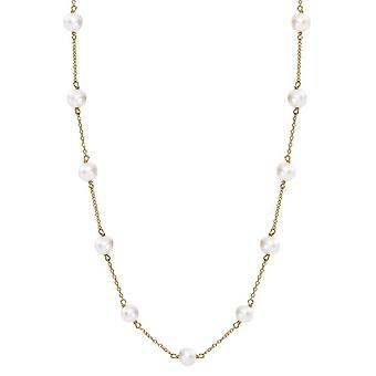 Pearls of the Orient Gratia Gold Plated Sterling Silver Freshwater Pearl Necklace - White