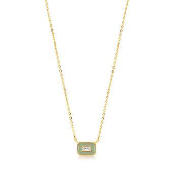 Ania Haie Sage Enamel Emblem Gold Necklace N028-02G-G