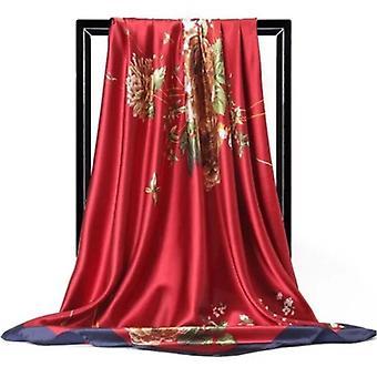 Large Hijab Scarves Fashion Print Silk Satin