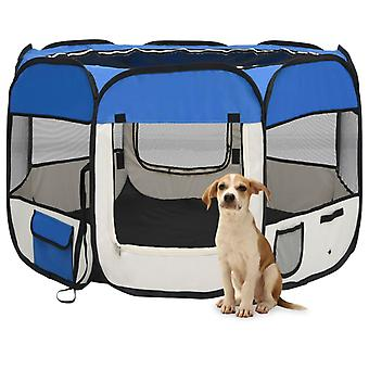 vidaXL Foldable puppy stall with carrying bag Blue 90x90x58 cm