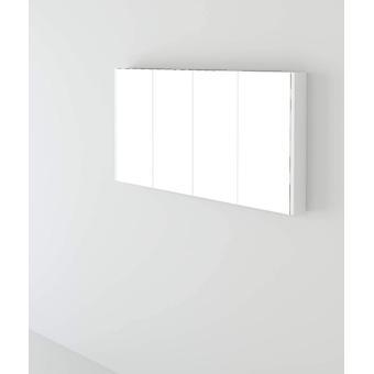 Telford Bathroom Wall Mounted White High Gloss 4 Door Storage Mirror Cabinet Furniture Unit - 1200mm