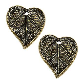 Metalen charme, hart met bladprint 17,5 mm, 2 stuks, messing oxide afwerking, door TierraCast