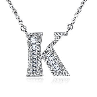 Gemshadow initial Sterling 925 silver necklace with zircons personalized letter gifts for women girls, cod. AQEN000053