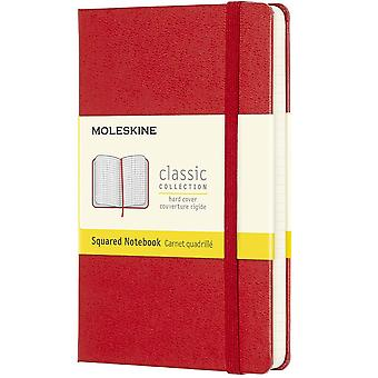FengChun Classic Squared Paper Notebook, Hard Cover and Elastic Closure Journal, Color Scarlet Red,