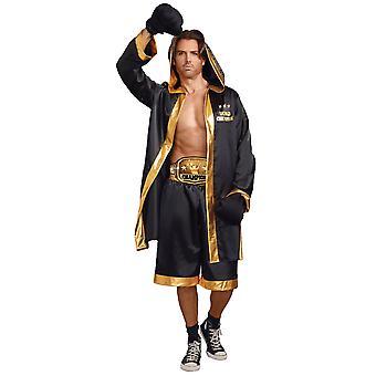 World Champion Boxer Sports Black Gold Satin Robe Boxing Gown Mens Costume
