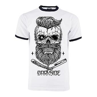 Darkside - BEARDED SKULL - Heren Zwarte Ringer T Shirt