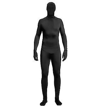 Xl svart hel bodysuit unisex spandex stretch vuxen kostym x4253