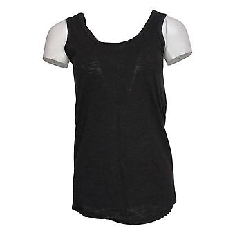 We By Living In Yellow Women's Top Slouchy WEekend Knit Tank Black 730322